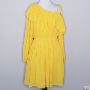 NWT Endless Rose Yellow Pleated One Shoulder Dress